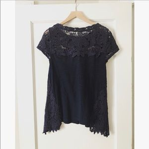Anthropologie Navy Lace Top